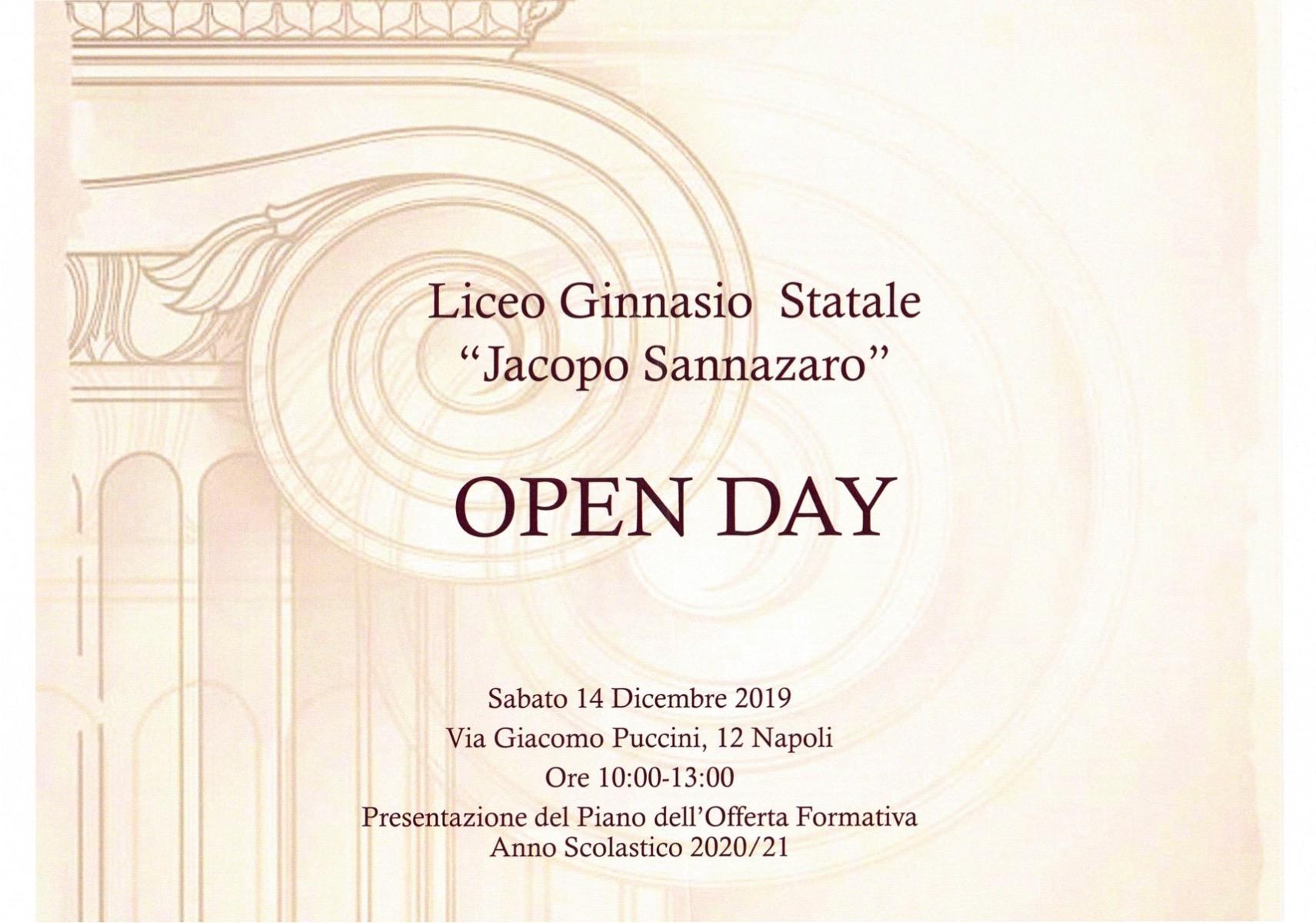 OPEN DAY SABATO 14 DICEMBRE ORE 10.00 - 13.00